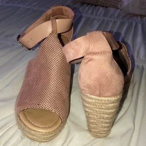 Cityclassified Shoes - CityClassified Blush/Mauve Suede Espadrille Wedges